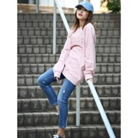 ゲス GUESS EMBOSS LOGO SWEAT (PINK)