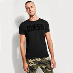 ゲス GUESS VELVET-FLOCKED LOGO TEE (JET BLACK)