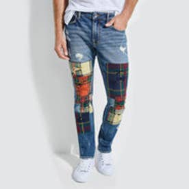 ゲス GUESS PATCHWORK PLAID SKINNY DENIM PANT (PLAID INDIGO WASH W/ DESTROY)
