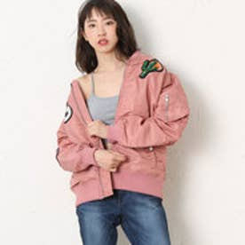 ゲス GUESS LADIES PATCH PADDING JACKET (PINK)