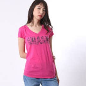 ゲス GUESS S/S DESTINATION PERFECT V-NECK TEE (JEALOUS PINK)
