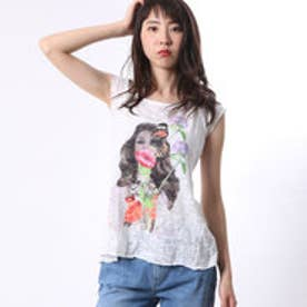 ゲス GUESS C/S BACK GATHERING LADY TOP (TRUE WHITE)