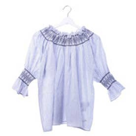 ゲス GUESS OFF SHOULDER WOVEN BLOUSE (BLUE)
