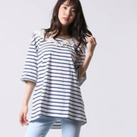 ゲス GUESS LADIES S/S BORDER V-NECK TEE (NAVY)