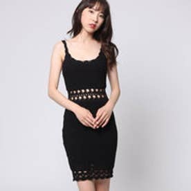 ゲス GUESS SL CASSIDY CROCHET DRESS (JET BLACK)