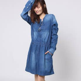 ゲス GUESS L/S LACE-UP SAFARI DENIM SHIRTDRESS (PARLOR WASH)