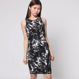 ゲス GUESS SL JACQUARD ZIP DRESS (CRYSTAL EVE JET BLACK)