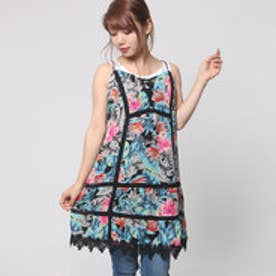 ゲス GUESS SL TIERED SUMMER DRESS (JUNGLE FLORA JET BLACK)