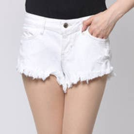 ゲス GUESS KATE CUTOFF WHITE DENIM SHORT (WHITE OVERDYED DESTROY WASH)
