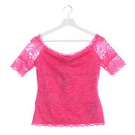 ゲス GUESS HALF-SLEEVE OFF-SHOULDER LACE TOP (JEALOUS PINK)