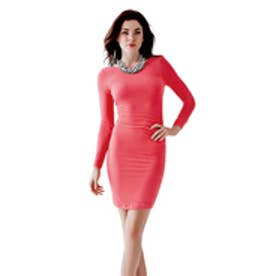 ゲス GUESS L/S V-BACK DRESS (ROUGE PINK)