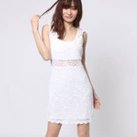 ゲス GUESS SL TIARA TIGER-LACE TWO-WAY DRESS (TRUE WHITE)