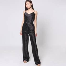 ゲス GUESS SATIN STRIPE JUMPSUIT (JET BLACK)