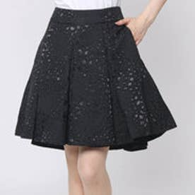 ゲス GUESS LEOPARD JACQUARD PLEATED PARTY SKIRT (JET BLACK)