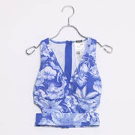 ゲス GUESS SL JONI SCUBA-KNIT HALTER TOP (COBALT FLOWERS)