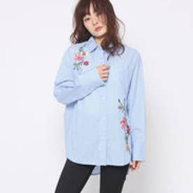 ゲス GUESS FLOWER EMBROIDERY STRIPE SHIRT (BLUE)