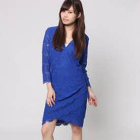 ゲス GUESS 3QUARTER SLEEVE LYNA LACE DRESS (ELECTRIC BLUE)