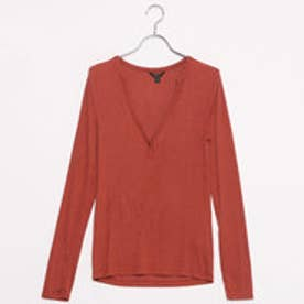 ゲス GUESS L/S JENNY KEYHOLE HENLEY TOP (AUTUMN RED)