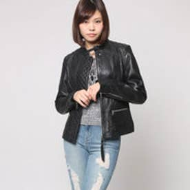 ゲス GUESS SHEILA LEATHER JACKET (JET BLACK W/ FROST GREY)