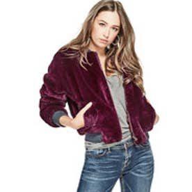ゲス GUESS JOLENE FAUX-FUR JACKET (WINDSOR WINE)