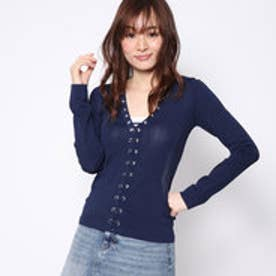 ゲス GUESS ALICE LACE-UP SWEATER (INK BLUE)