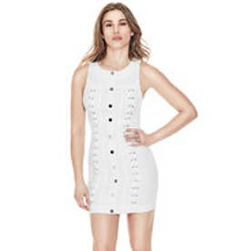 ゲス GUESS LACE-UP DENIM DRESS (BRILLIANT WHITE)