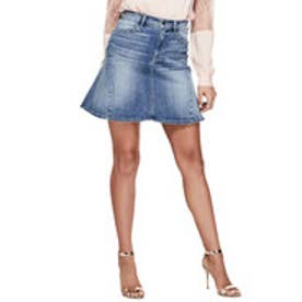 ゲス GUESS HIGH-RISE LACE UP FLARED DENIM SKIRT (MEDIUM WASH)