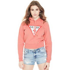 ゲス GUESS Originals CLASSIC CROPPED LOGO HOODIE (ROSE POUT)