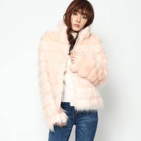 ゲス GUESS ASAKO TIERED FAUXFUR JACKET (LIGHT PHARD)