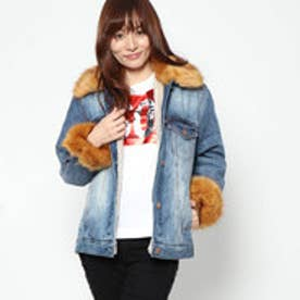 ゲス GUESS ELLIE FUR DENIM JACKET (CATFISH WASH)