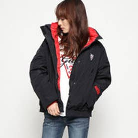 ゲス GUESS TRIANGLE LOGO DOUBLE-NECK DOWN JACKET (BLACK)