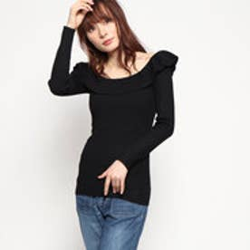 ゲス GUESS BEATRICE OFF-SHOULDER SWEATER (JET BLACK)