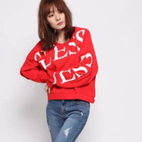 ゲス GUESS TATIANA LOGO SWEAT (NECESSARY RED)