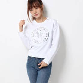 ゲス GUESS MARILU LAMINATE LOGO FLEECE SWEAT (TRUE WHITE)