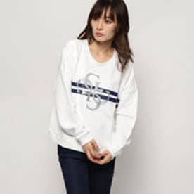 ゲス GUESS GLITTER 4G LOGO SWEAT (TRUE WHITE)