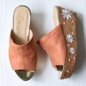 ブリジット バーキン Bridget Birkin ウエッジ花柄刺繍シンプルミュール (ピンクスウェード)