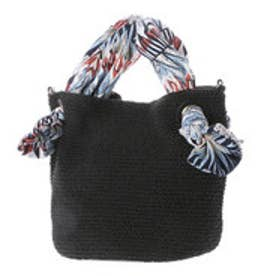クーコ COOCO Bridget Birkin 生地ハンドルロープトートバッグ (ブラック雑材)