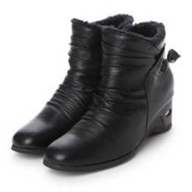 フィノ fino レザーシャーリングブーツ(リボンデザイン) (ブラック)