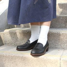 ハルタ HARUTA 牛革ヒールアップコインローファー #7400 (ブラック)