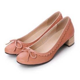 スプラウト sprout 履き口のフラワーカットデザインがかわいいローヒールパンプス (ピンク)