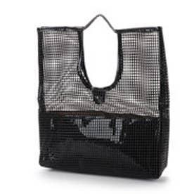 スタイロ styiro 巾着付きエナメルメッシュハンドバッグ (ブラック)
