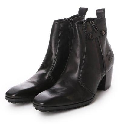 ヨースケ YOSUKE 本革チゼルトゥサイドジップブーツ (ブラック)