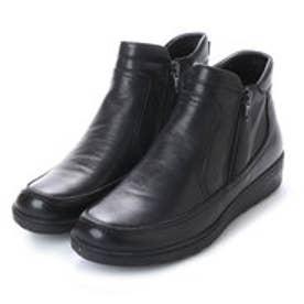 ヨースケ YOSUKE 本革サイドジップショートブーツ (ブラック)