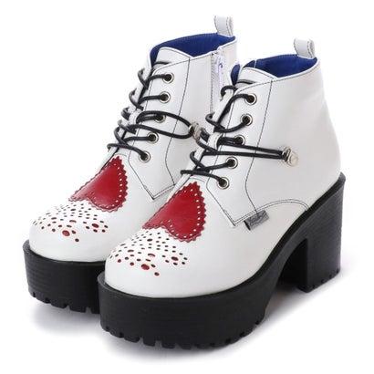 ヨースケ YOSUKE ハートモチーフ厚底ブーツ (ホワイトコンビ)