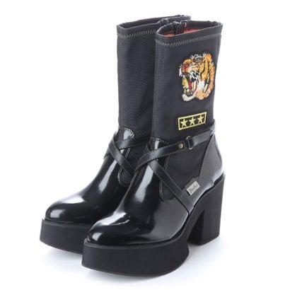 ヨースケ YOSUKE ワッペン付き厚底ブーツ (ブラックエナメル)