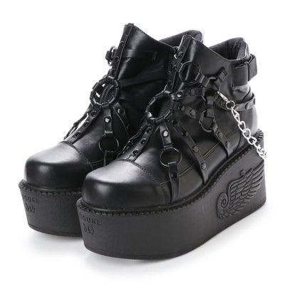ヨースケ YOSUKE  [先行予約]厚底ショートブーツ (ブラック)