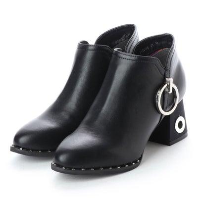ヨースケ YOSUKE 装飾ヒールショートブーツ (ブラック)