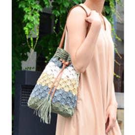 ヴィータフェリーチェ VitaFelice 巾着型かごショルダーバッグ (グリーン)