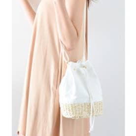 ヴィータフェリーチェ VitaFelice キャンバス切り替え巾着かごショルダーバッグ (ホワイト)