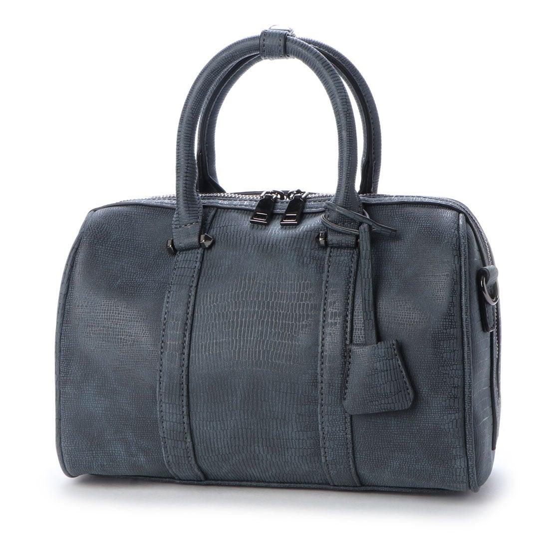 ヴィータフェリーチェ VitaFelice ボストンバッグ レディースバッグ 通勤バッグ リザードの型押し 2wayバッグ ミニバッグ 大容量 ショルダーバッグ (NAVY)